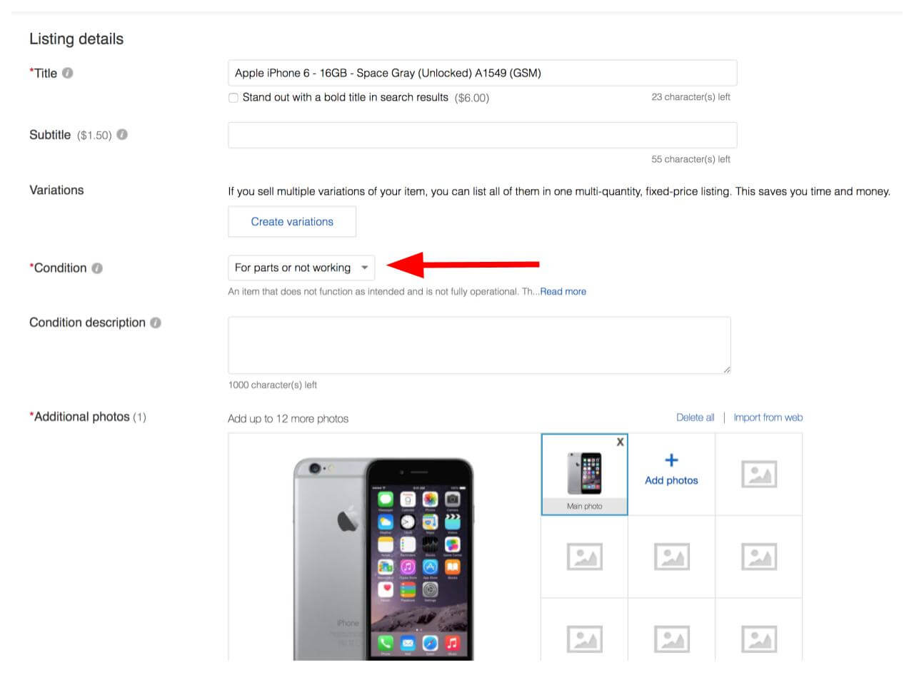 """To sell a cracked iPhone on eBay, select the """"For parts or not working"""" condition category."""