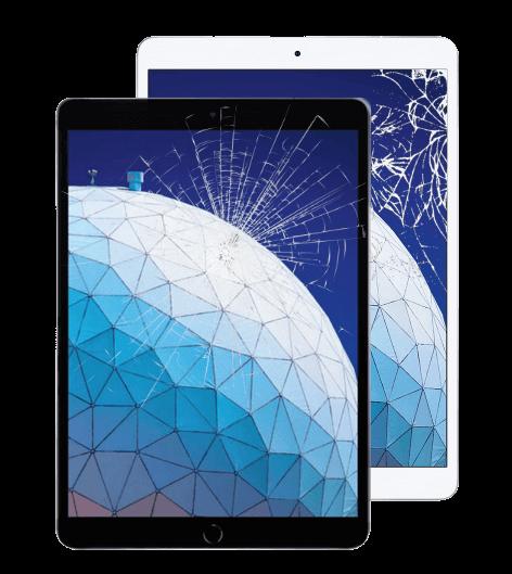 Pair of cracked, broken iPads