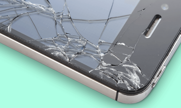 Close-up of cracked phone