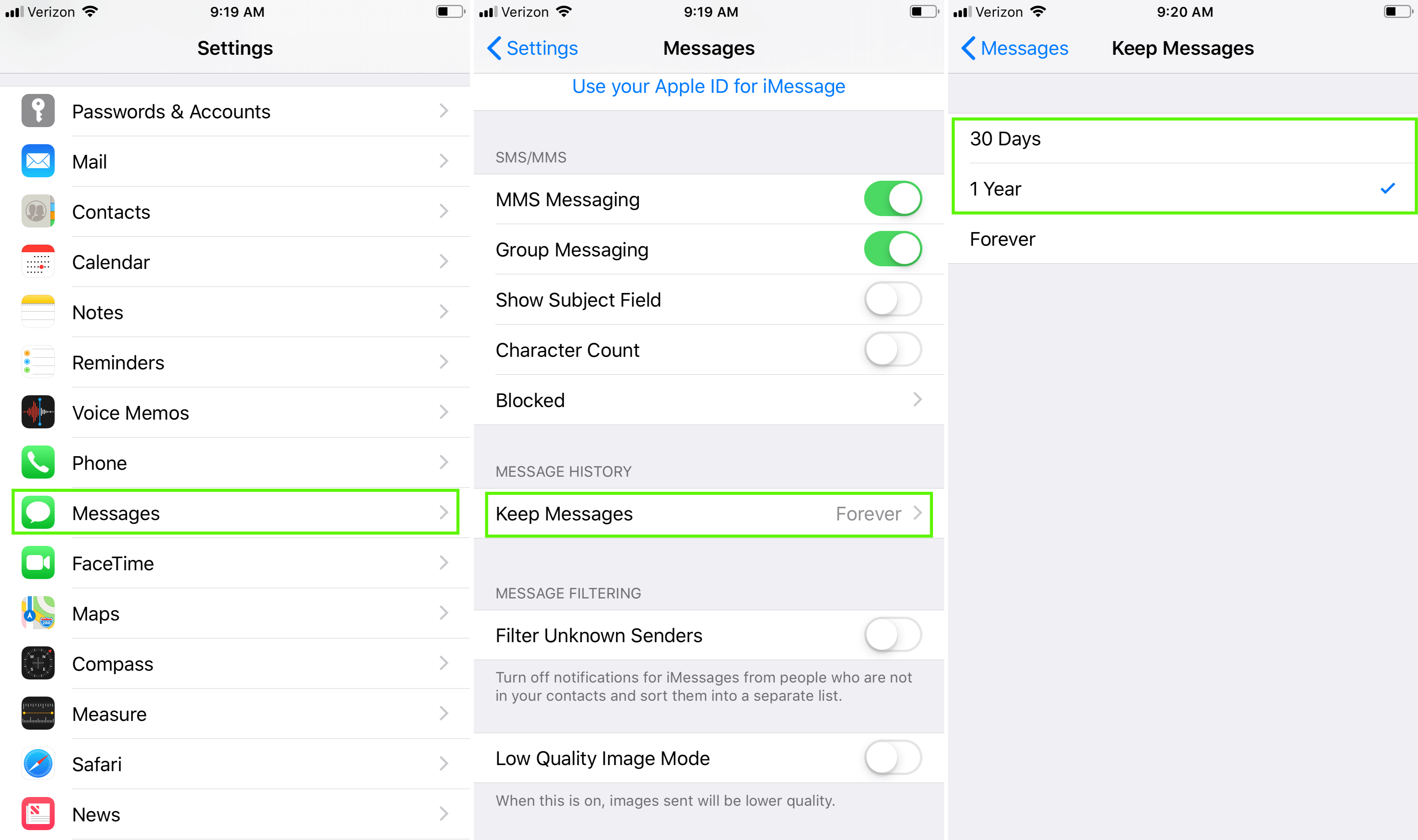 How to optimize iPhone storage by deleting message data