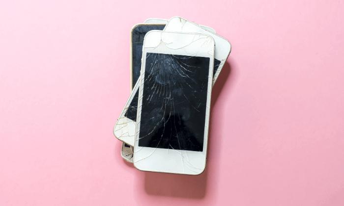 Stack of damaged phones