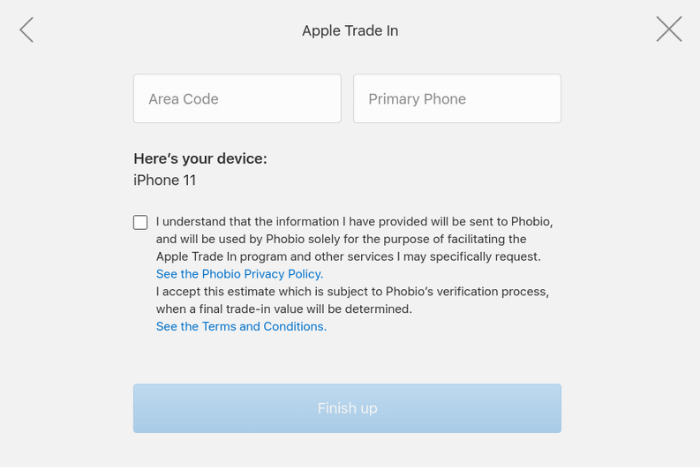 Accepting Phobio's Privacy Policy & Terms and Conditions with Apple Trade In