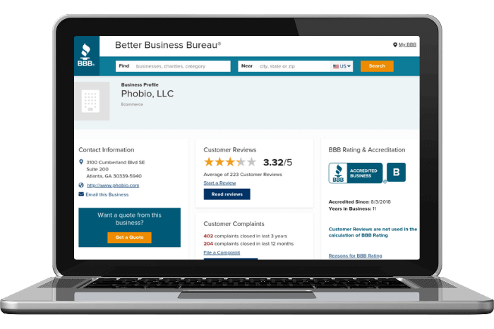 Screenshot of Phobio trade-in reviews with the Better Business Bureau