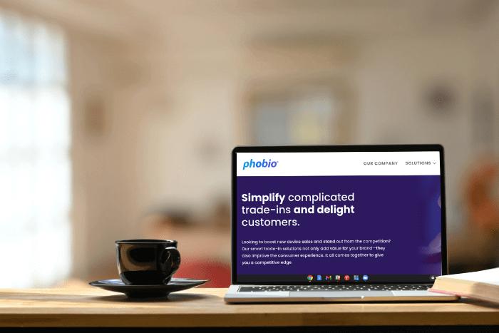 Screenshot of Phobio's homepage