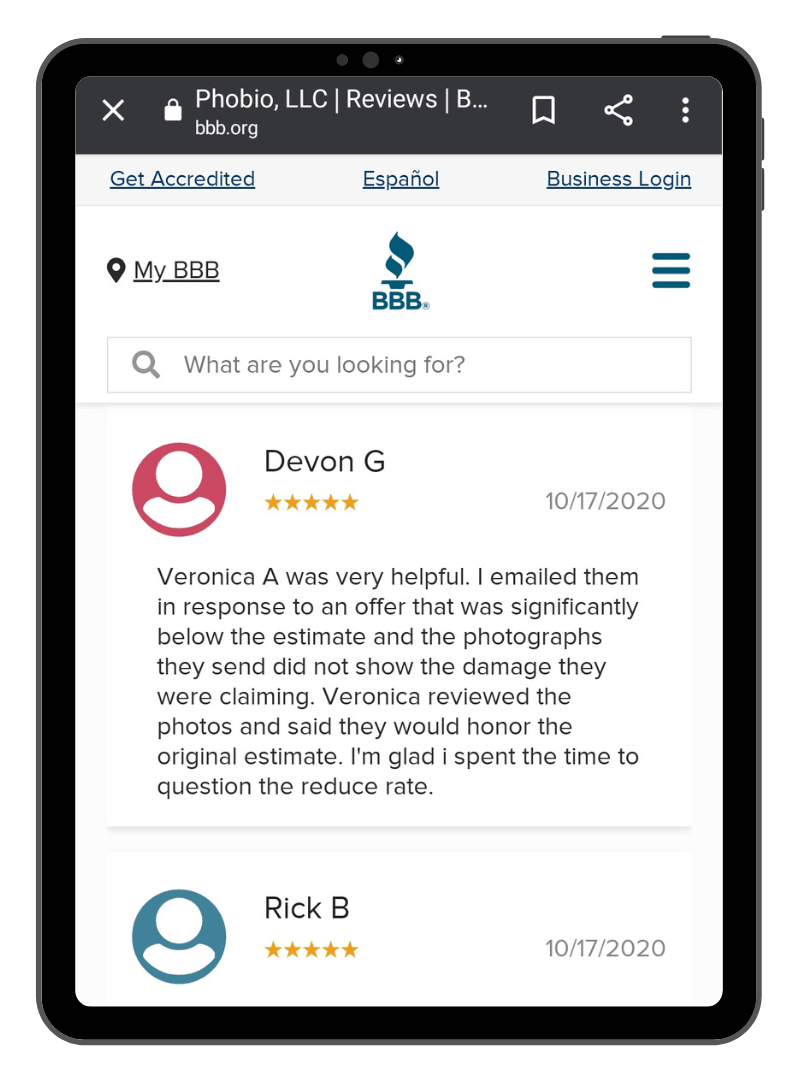 Screenshot of Phobio's positive reviews on the BBB