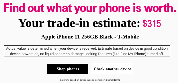 Use T-Mobile's trade-in estimator to get your quote