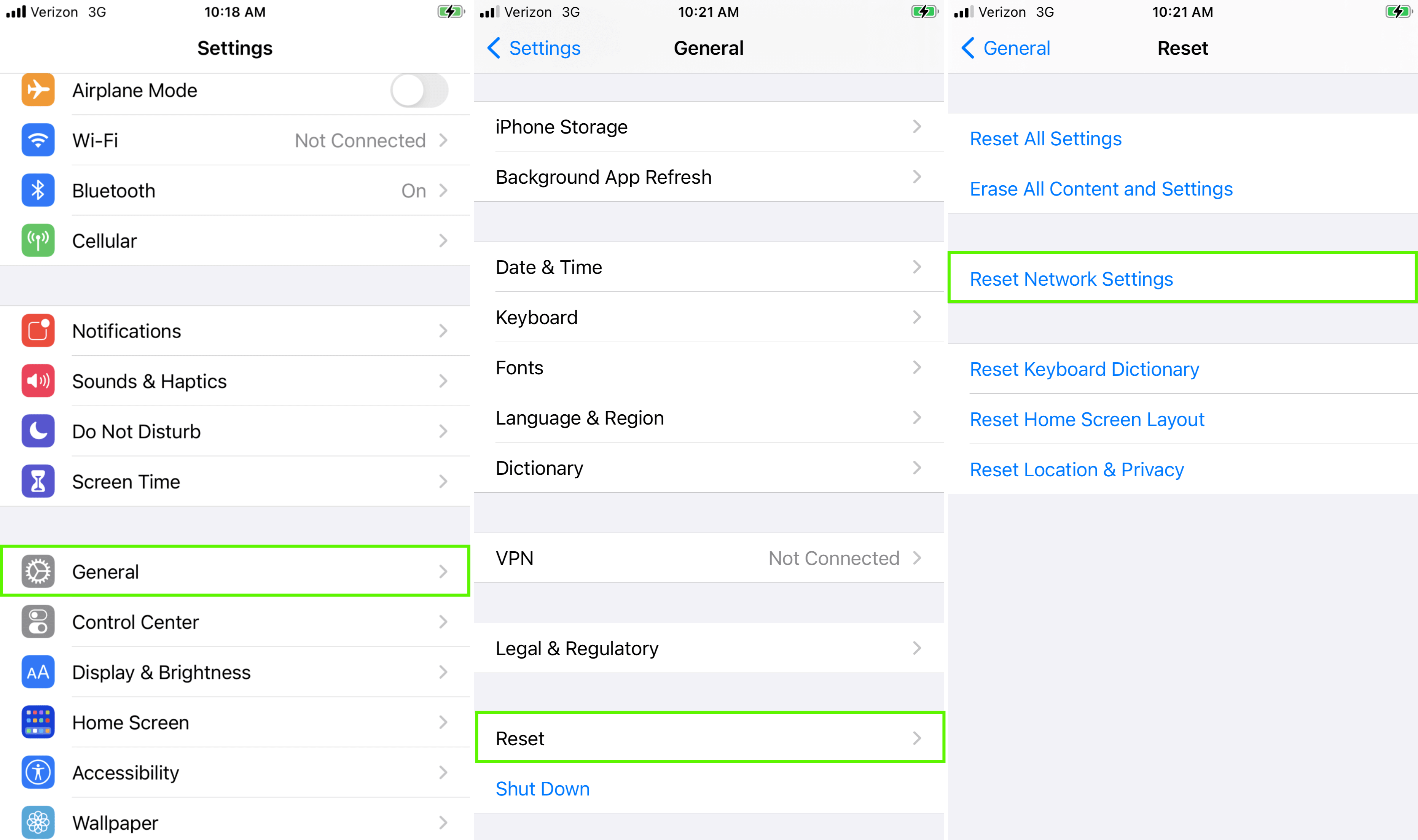 Screenshot of how to reset network settings to fix an Invalid SIM iPhone message