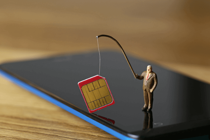 tiny man standing on a cellphone holding a SIM card
