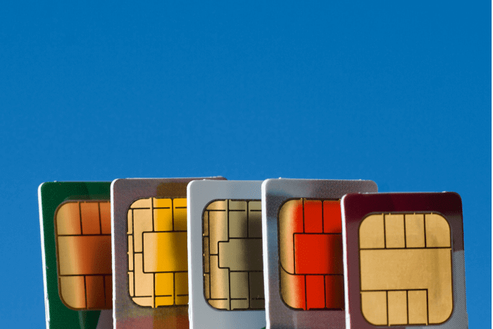 row of colorful SIM cards