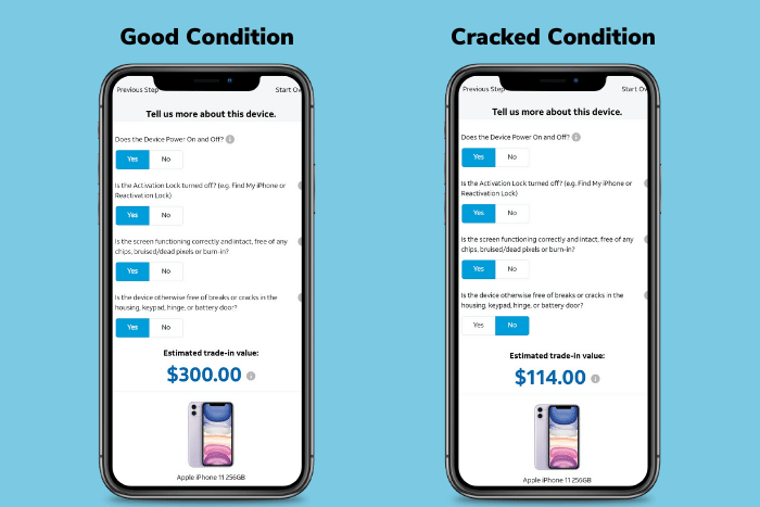 ATT iPhone 11 Trade-In Value - Good vs Cracked
